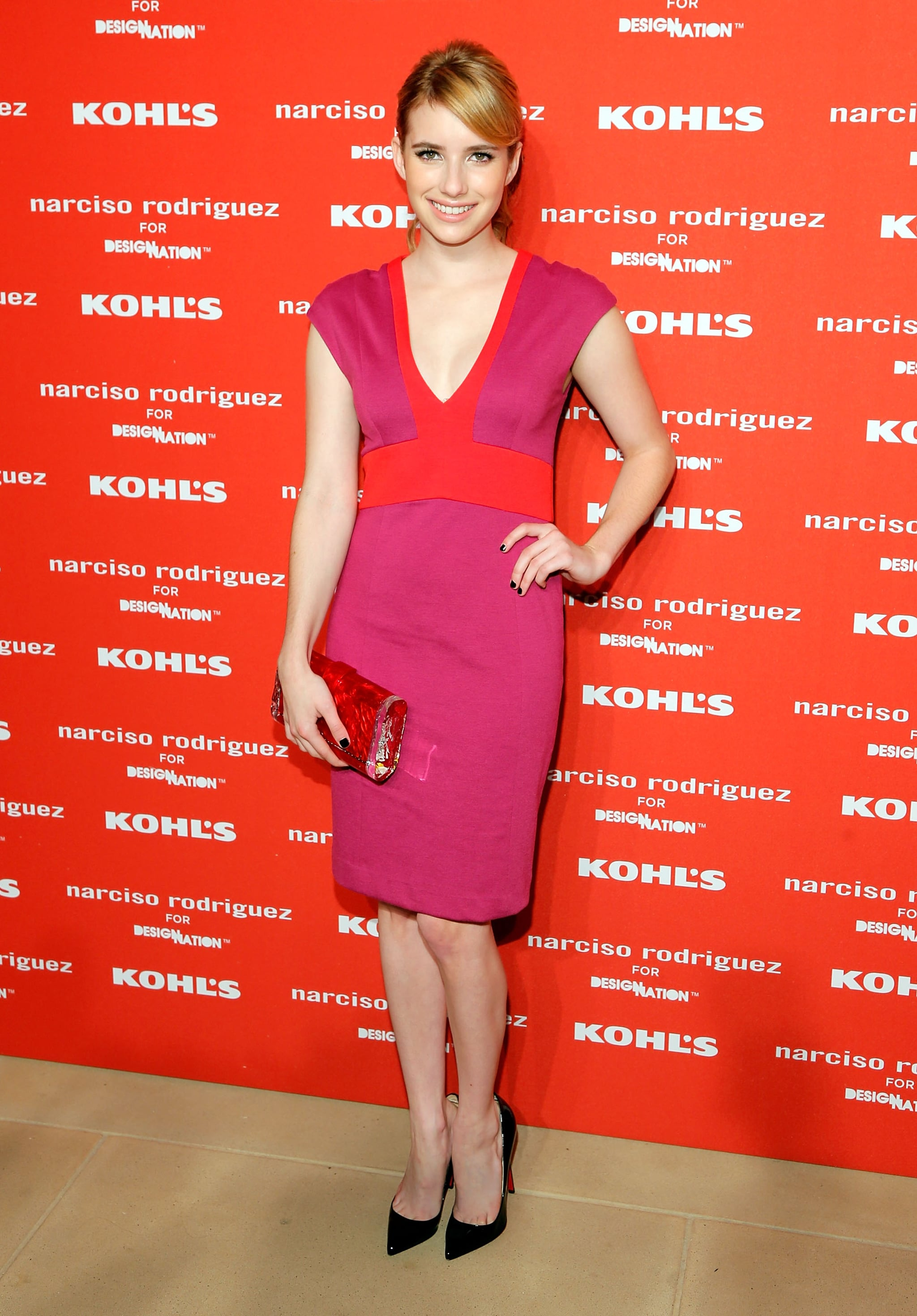 Emma attended the launch party for Narciso Rodriguez's Kohl's collection in October 2012 wearing a colorblock dress by the designer.
