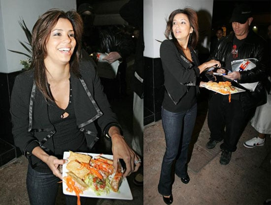Eva Longoria Feeds the Paparazzi Outside Beso