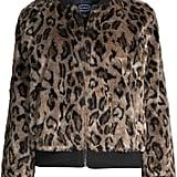 Scoop Faux Fur Leopard Knit Panel Zip-Up Bomber Jacket