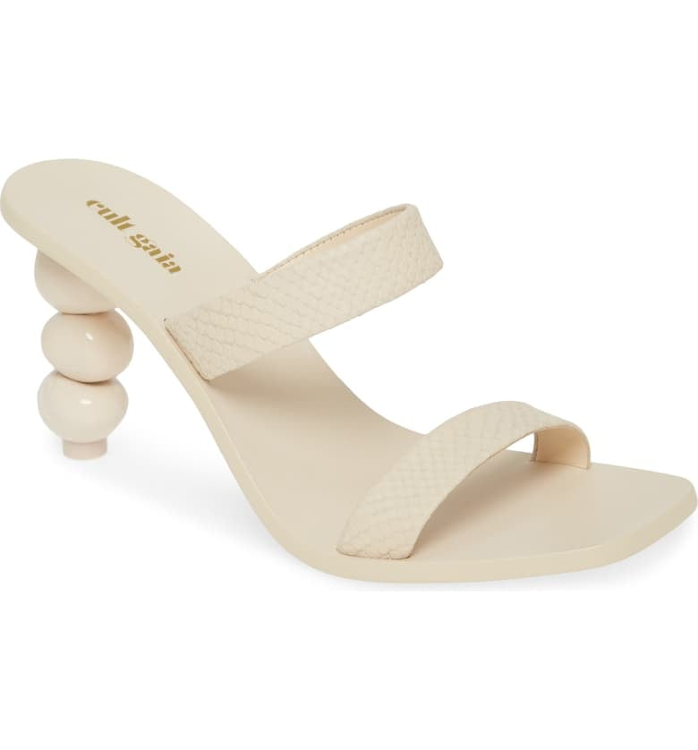 Cult Gaia Meta Snake Embossed Slide Sandals
