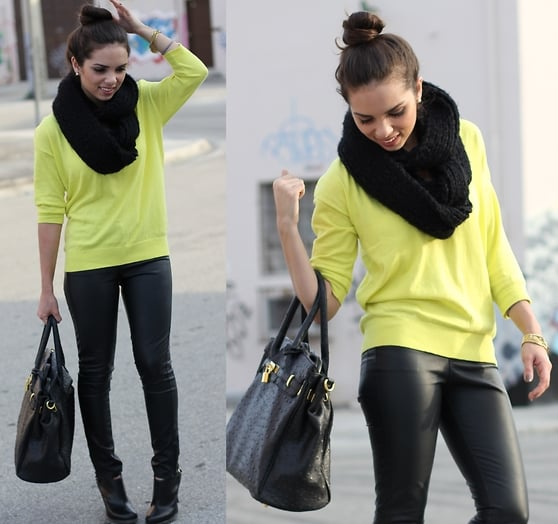 Leather and neon look undeniably cool.  Photo courtesy of Lookbook.nu