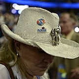 An attendee wore a hat in support of Romney.