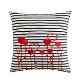 Embroidered Black and White Striped Heart Pillow