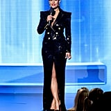This sequined, slitted Balmain blazer dress was one of her sexier looks of the night.