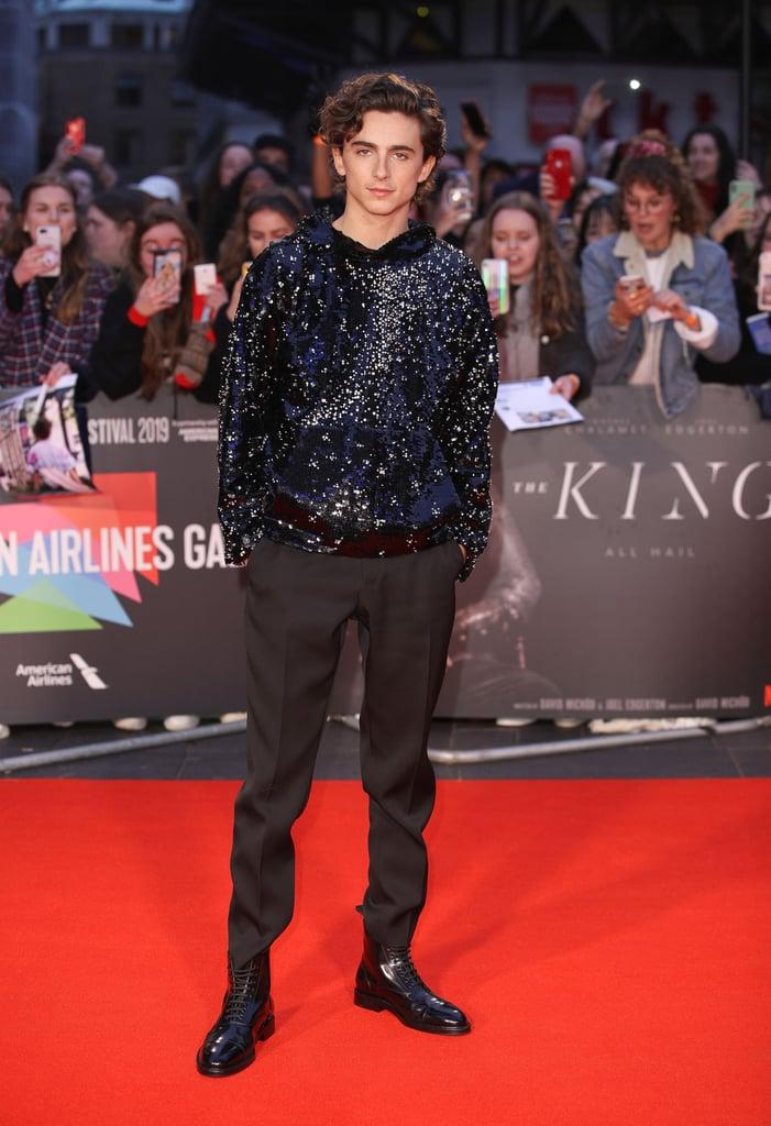 Timothée Chalamet Wearing a Sequin Hoodie at The King Premiere
