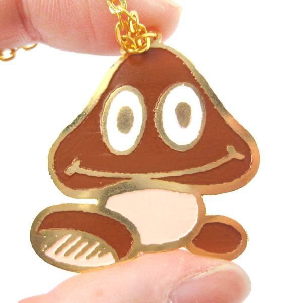 Super Mario Goomba Mushroom Necklace