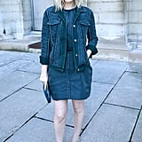 Kate Mara did the dressed-up version of denim on denim, adding a jean jacket to a little jean dress at the Louis Vuitton Fall '14 show.
