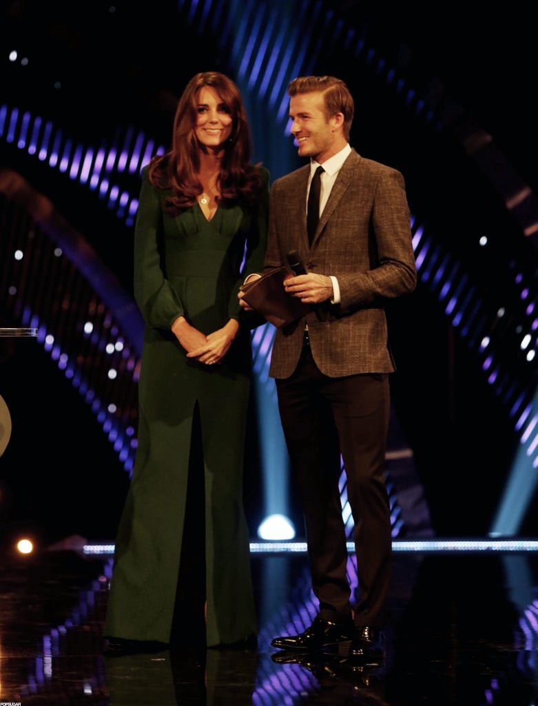 Kate Middleton and David Beckham were on stage at the BBC Sporty Personality Of The Year Awards in London.