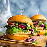 Crispy Tofu Sandwiches with Sweet Pea Greens and Peanut Slaw