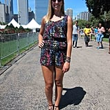 We were surprised with how few rompers saw the light of Lolla this season, so when we saw Samantha's colorful neon Forever 21 version, we were plenty relieved.