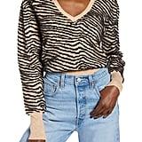 Astr the Label Tiger Stripe V-Neck Sweater