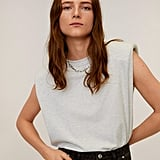 Mango Shoulder Pad Cotton T-Shirt