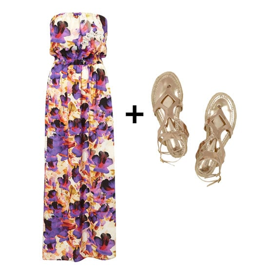 A strapless maxi dress is perfect for slipping on over your bathing suit, and this one has a gorgeous print and color way. We'd wear it with rose-gold metallic sandals for a boho-glam vibe. Get the look:  Topshop Petite Floral Maxi Dress ($110) Jimmy Choo Peachy Metallic Gladiator Sandals ($375)