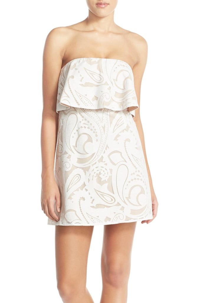 BCBGMAXAZRIA 'Leeah' Strapless Lace Popover Dress ($298)