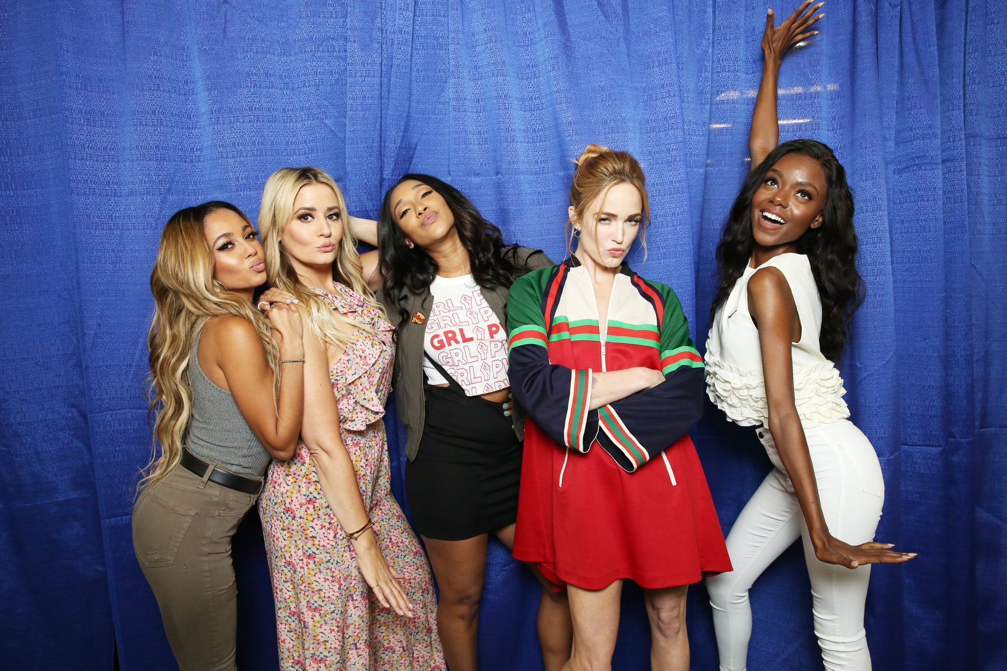Pictured: Vanessa Morgan, Kirbie Johnson, Candice Patton, Caity Lotz, and Ashleigh Murray