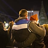 A couple enjoyed the holiday lights in Tel Aviv, Israel.