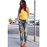Distressed denim makes a statement on its own so you don't have to do all the work.