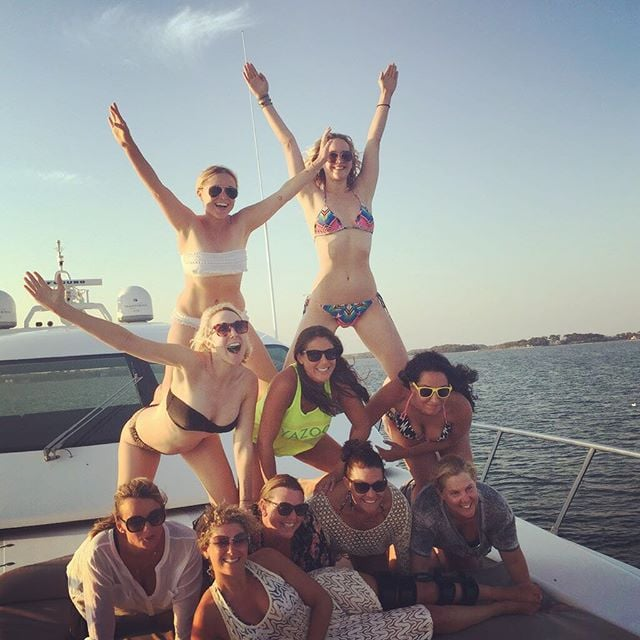 """Can you imagine hanging out with funny ladies Jennifer Lawrence and Amy Schumer? Well, that's a reality for the women who spent time with the two stars at the beach this week. On Thursday, Amy took to social media to share a couple pictures of the pair's day out. In one, she and Jennifer are riding on a WaveRunner, and she called J Law a """"#maniac."""" (Flashback to the time Amy got so excited when Jennifer said her name, nominating her for The Bachelorette!) In another photo, they're all smiles alongside some friends, and Amy jokingly made a Mitt Romney reference with her caption: """"Binders of women."""" Keep reading to see more pictures of the pair hanging out together, then check out why we love Amy Schumer, plus hilarious pictures of Jennifer Lawrence being a fangirl."""