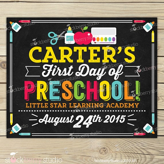First-Day-of-Preschool Sign