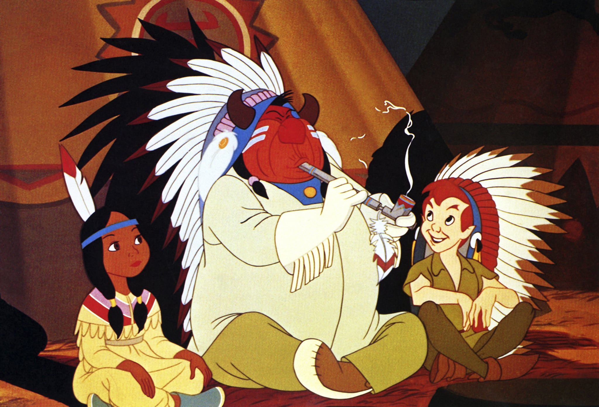 PETER PAN, from left: Princess Tiger Lily, indian chief, Peter Pan, 1953, Walt Disney Pictures/courtesy Everett Collection