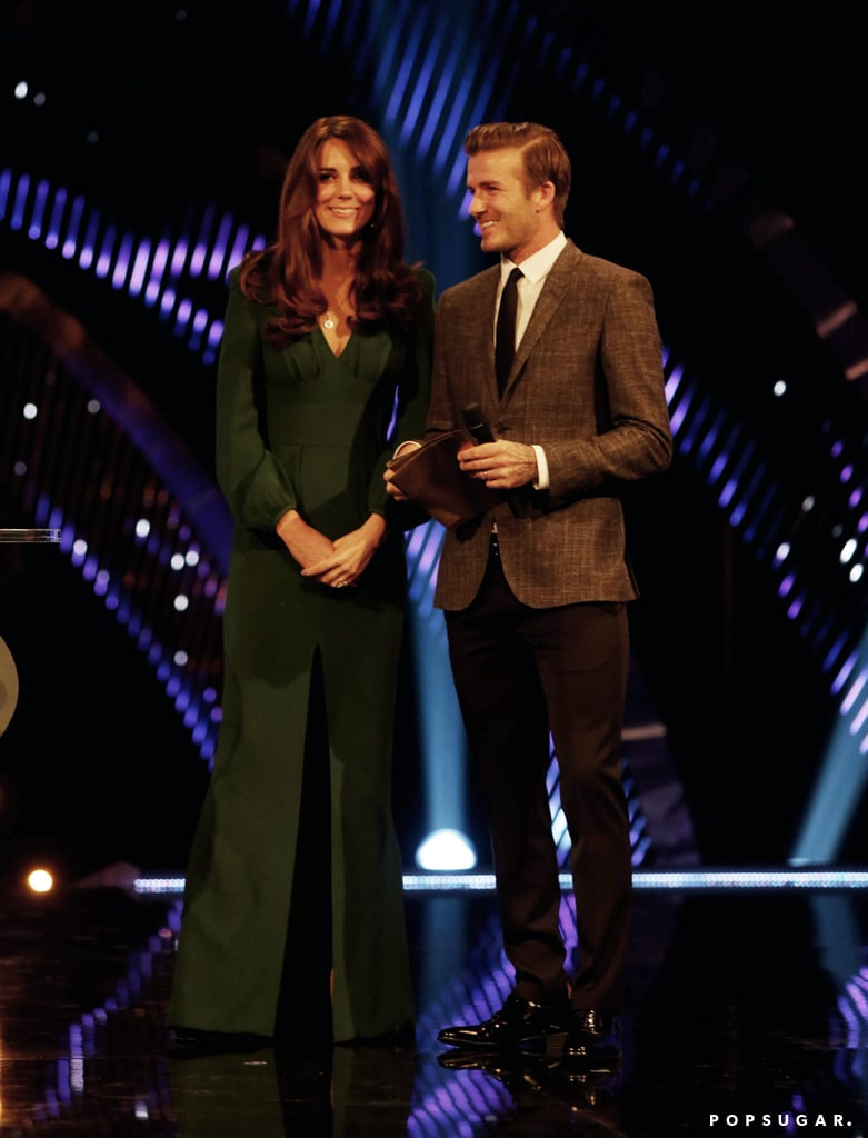 Kate made her first posthospitalization appearance during her first pregnancys with David Beckham when she presented at the BBC Sports Personality of the Year Awards on Dec. 16, 2012.