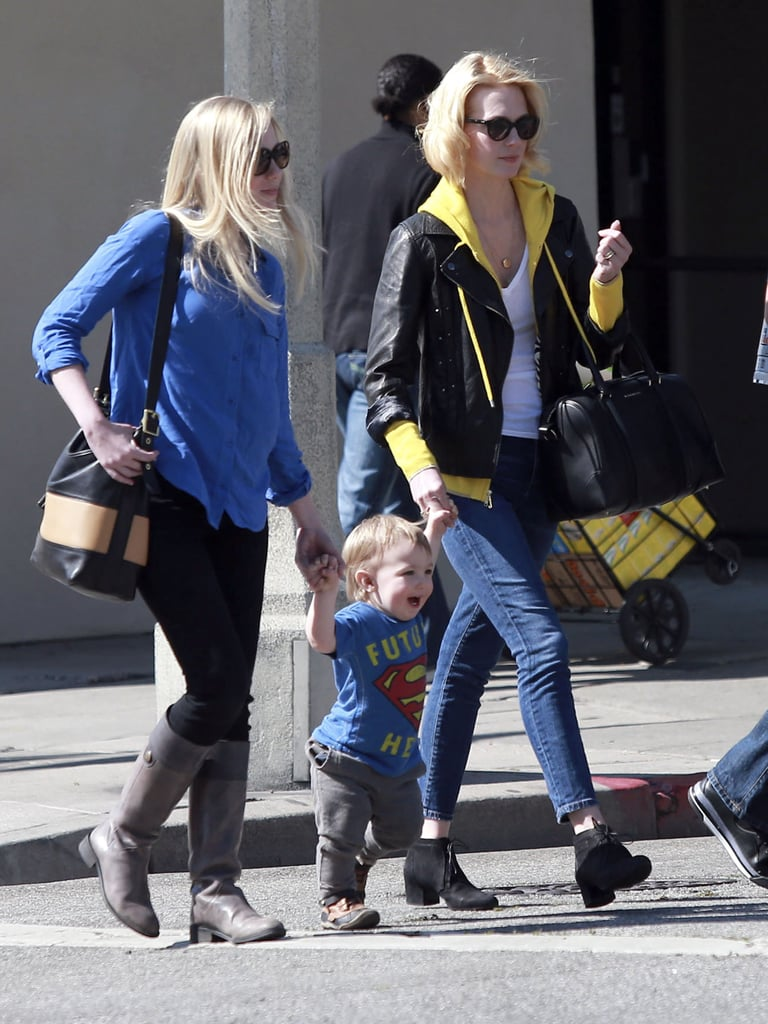 January Jones held her little man Xander by the hand during a Sunday lunch date in LA.