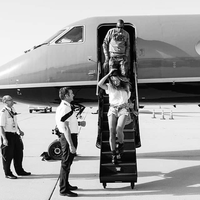 Beyoncé and Jay Z stepped off a private jet like royals. Source: Instagram user beyonce