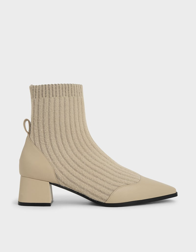 Charles & Keith Beige Knit Ankle Sock Boots