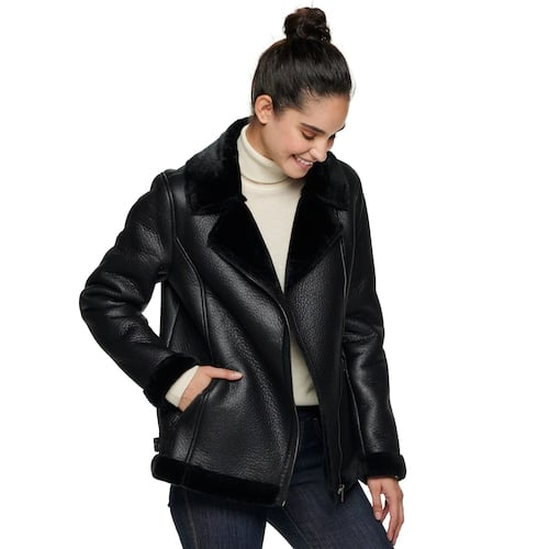 Sebby Collection Faux-Shearling Moto Jacket