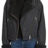 Veronica Beard Rosina Faux Shearling Lined Denim Biker Jacket