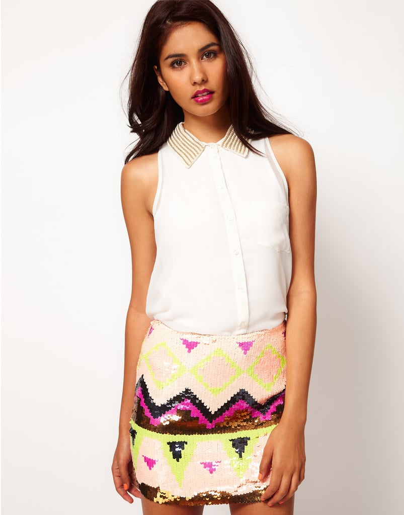 Lipsy Sleeveless Blouse With Studded Collar ($64)