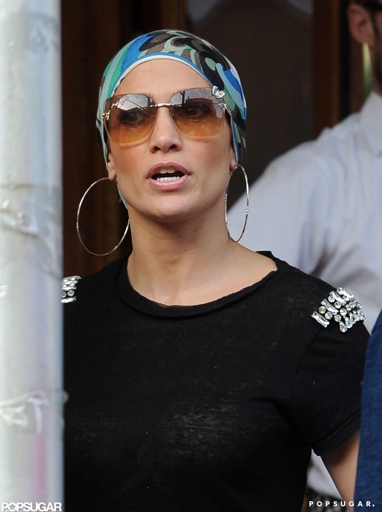 Jennifer Lopez wore sunglasses in the city.