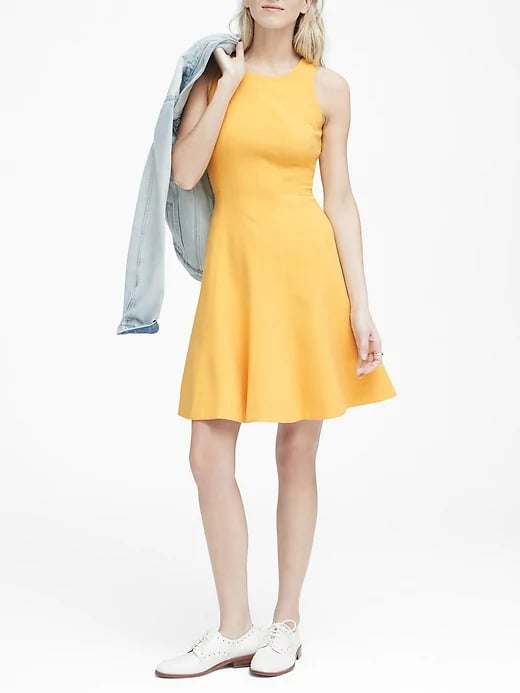 Paneled Fit-and-Flare Dress