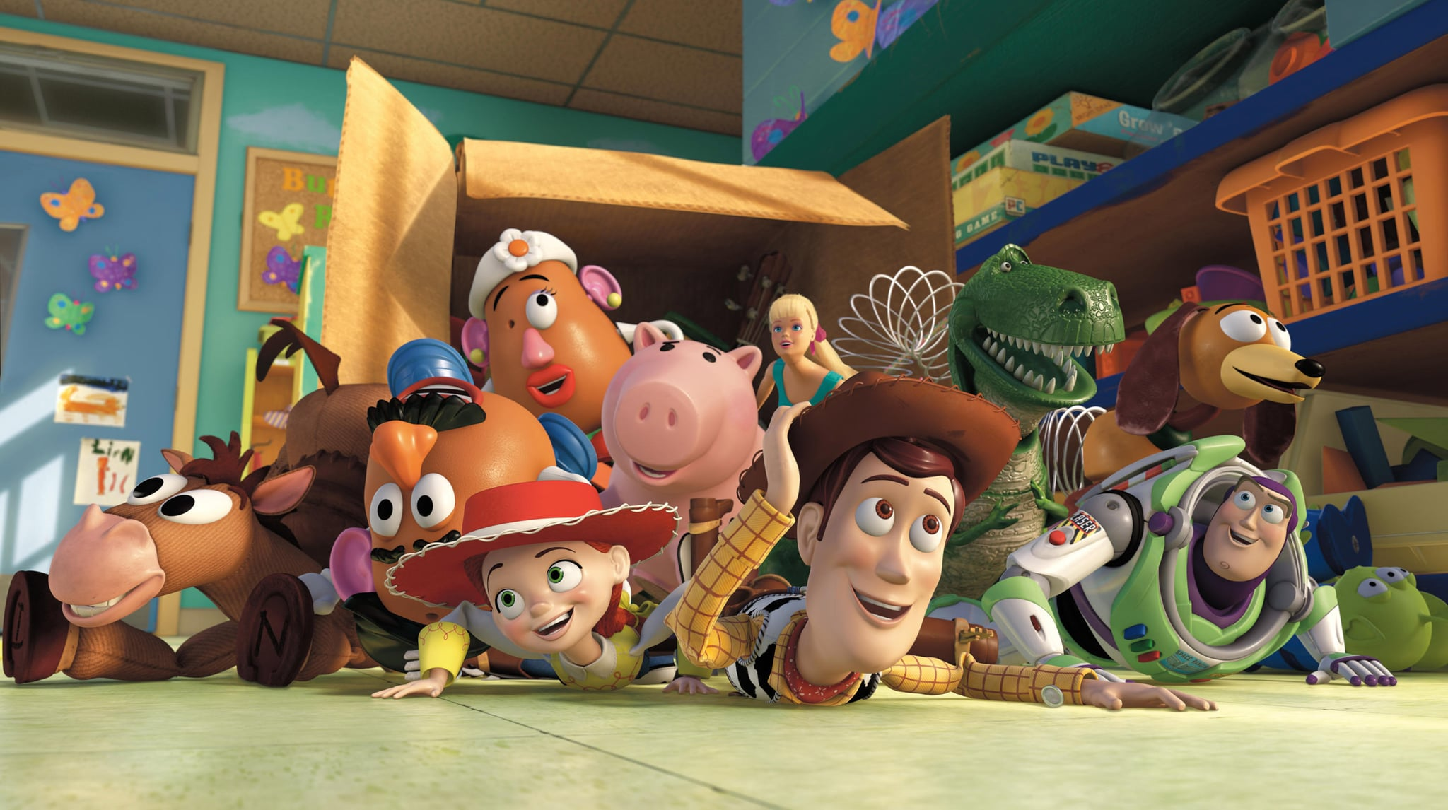 TOY STORY 3, Mr. Potato Head (second from left, voice: Don Rickles), Jessie (left of center, voice: Joan Cusack), Woody (right of center, voice: Tom Hanks), Buzz Lightyear (front right, voice: Tim Allen), 2010. Buena Vista Pictures/courtesy Everett Collection