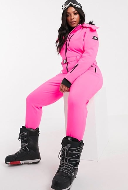 ASOS 4505 Fitted Belted Ski Suit With Fur Hood