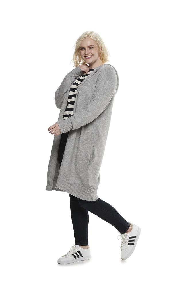 Hooded Coatigan in Heather Grey