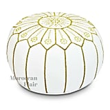 Moroccan Flair Leather Moroccan Pouf in Jasmine White