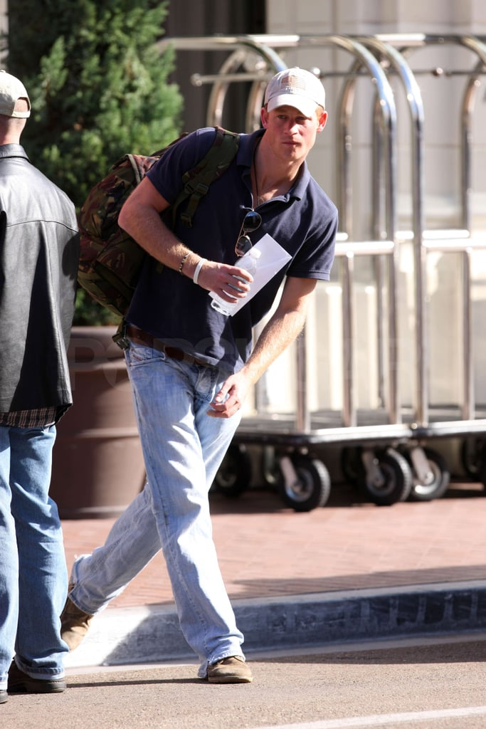 Prince Harry went casual as he left his hotel.