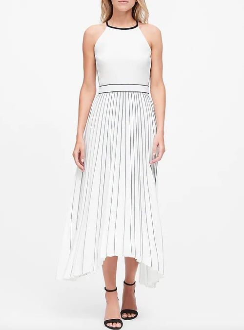 Pleated Fit-and-Flare Dress
