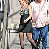 Scarlett Johansson Wearing Sophia Webster Sock Boots and a Miu Miu Dress