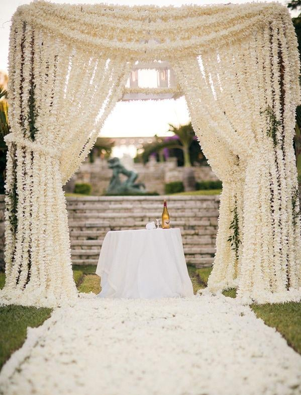How Elegant Are These Draping Floral Curtains Unique Wedding
