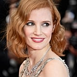 At the Money Monster premiere, Jessica Chastain tried a wavy hair look and a rosy cheeks.