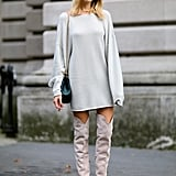Over-the-knee boots were a recurring trend outside the Spring 2015 shows.