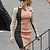 Jennifer Lopez wore a Lanvin number on the way to a press conference to announce her tour.