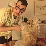 Lena Dunham posted a sweet photo of her boyfriend, Jack Antonoff, and her dog, Lamby, holding hands — well, hands and paws. Source: Instagram user lenadunham