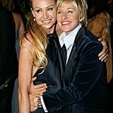 Portia de Rossi and Ellen DeGeneres stuck together at a February 2007 Oscar party in LA.