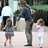 Sarah Jessica Parker walks with her girls.