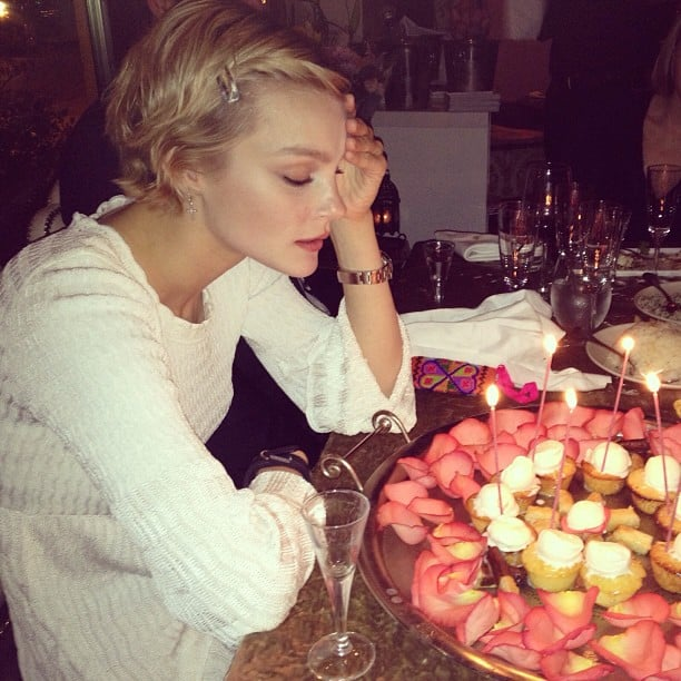 Jessica Stam blew out the candles on her birthday cupcakes. Source: Instagram user jess_stam