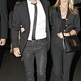 Jennifer Aniston and Justin Theroux matched for dinner at the Eiffel Tower in June.