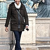 Zoe Saldana flashed a big smile on the set of Rosemary's Baby in Paris on Friday.